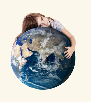 A Girl Hugging The World Globe