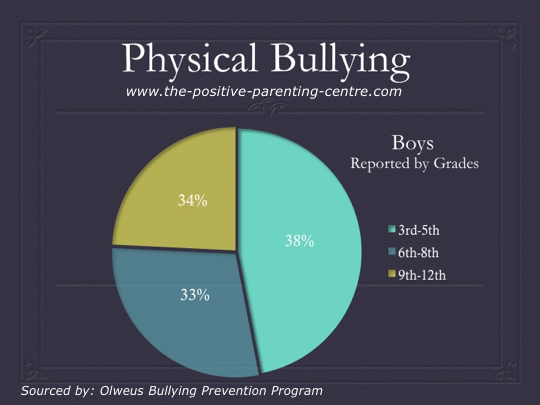 Physical Bullying in Boys Pie Chart - The Positive parenting Centre