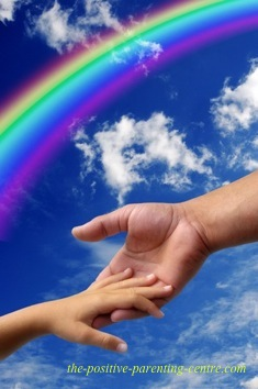 Hand Under Rainbow Reaching Out To Child